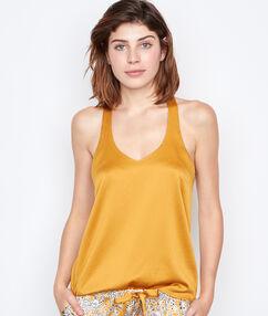 Satynowy top z koronką na plecach jaune.