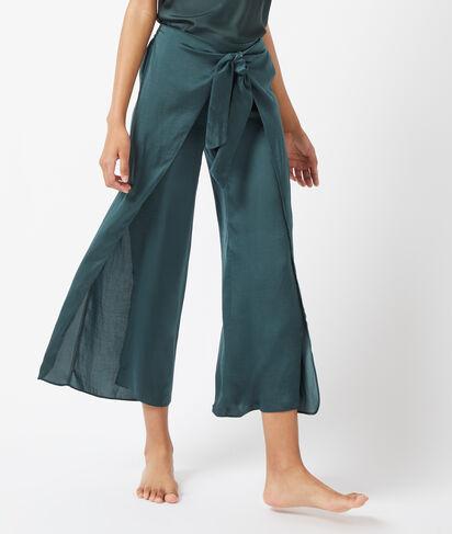 Spodnie z rozcięciem po bokach i wiązaniem z przodu;${refinementColor}