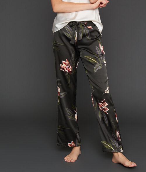 Satynowe spodnie w deseń kwiatowy z szerokimi nogawkami