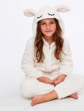 Kombinezon piżamka dla dzieci- króliczek ecru.