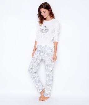 Trzyczęściowa piżama ze spodniami w deseń i bluzą polarową szary.