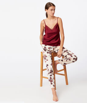Spodnie w deseń kwiatowy z szerokimi nogawkami ecru.
