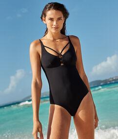 Jednoczęściowy kostium kąpielowy, plecy wykonane z ozdobnych pasków noir.