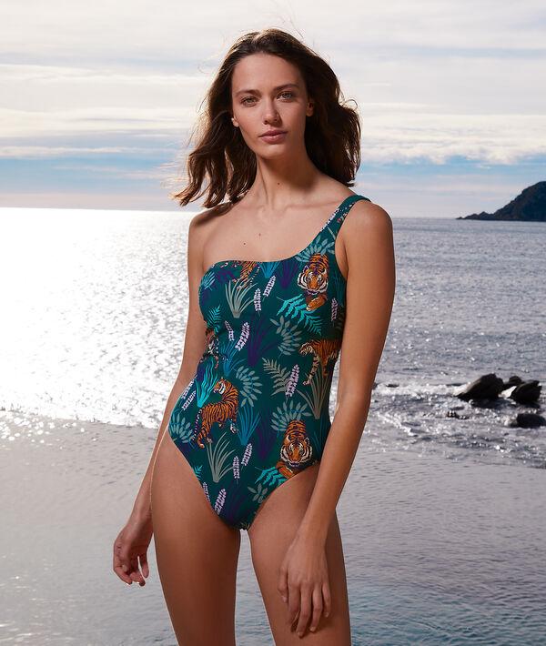Jednoczęściowy kostium kąpielowy asymetryczny z nadrukiem;${refinementColor}