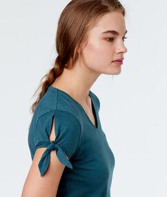 T-shirt z wiązanymi rękawami bleu.