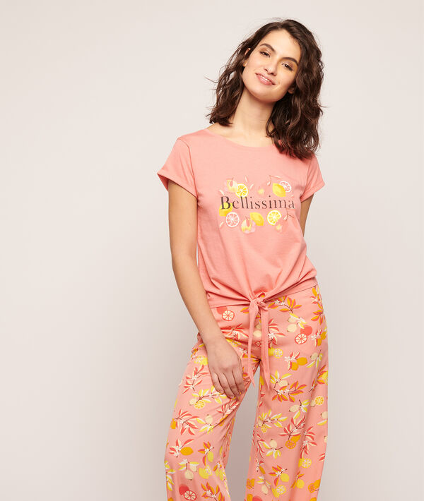 T-shirt wiązany z napisem 'bellissima';${refinementColor}