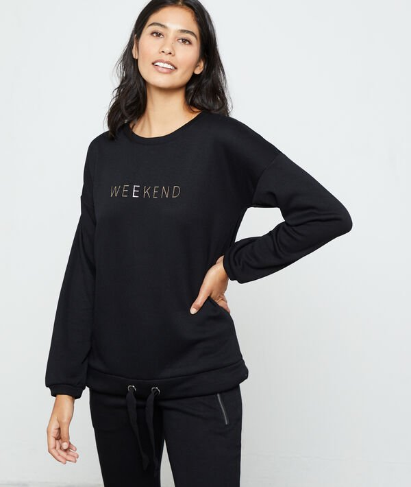 T-shirt z długimi rękawami i napisem 'weekend'