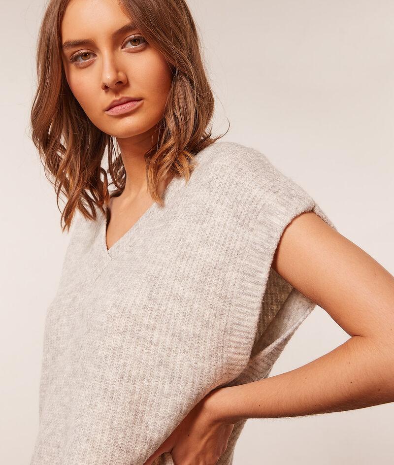 Dzianinowy sweter bez rękaów;${refinementColor}