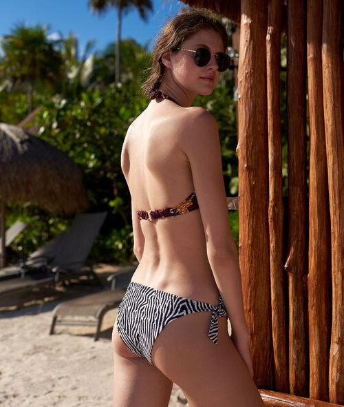 Wiązany dół bikini w paski zebry
