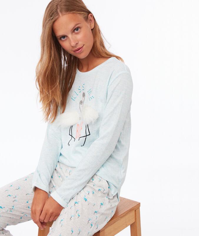 T shirt z detalami ze sztucznego futerka turquoise.