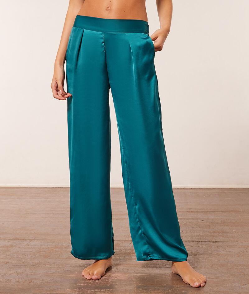 Spodnie od piżamy z satyny;${refinementColor}
