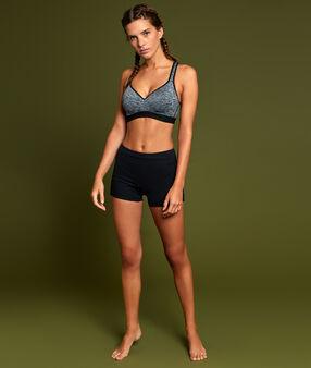 Biustonosz sportowy, efekt push up, na plecach wycięcie w stylu bokserskim z tiulu antracytowy.