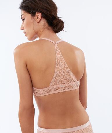 Koronkowy push up z głębokim dekoltem, ozdobne wycięcie na plecach w stylu bokserskim rose poudre.