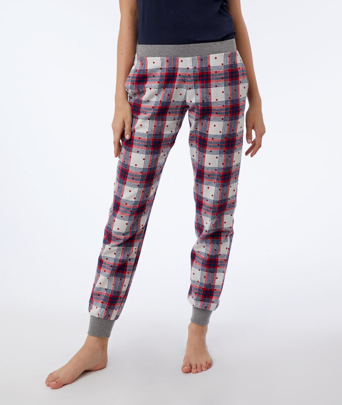 Spodnie w kratę i groszki ecru/rouge/marine.