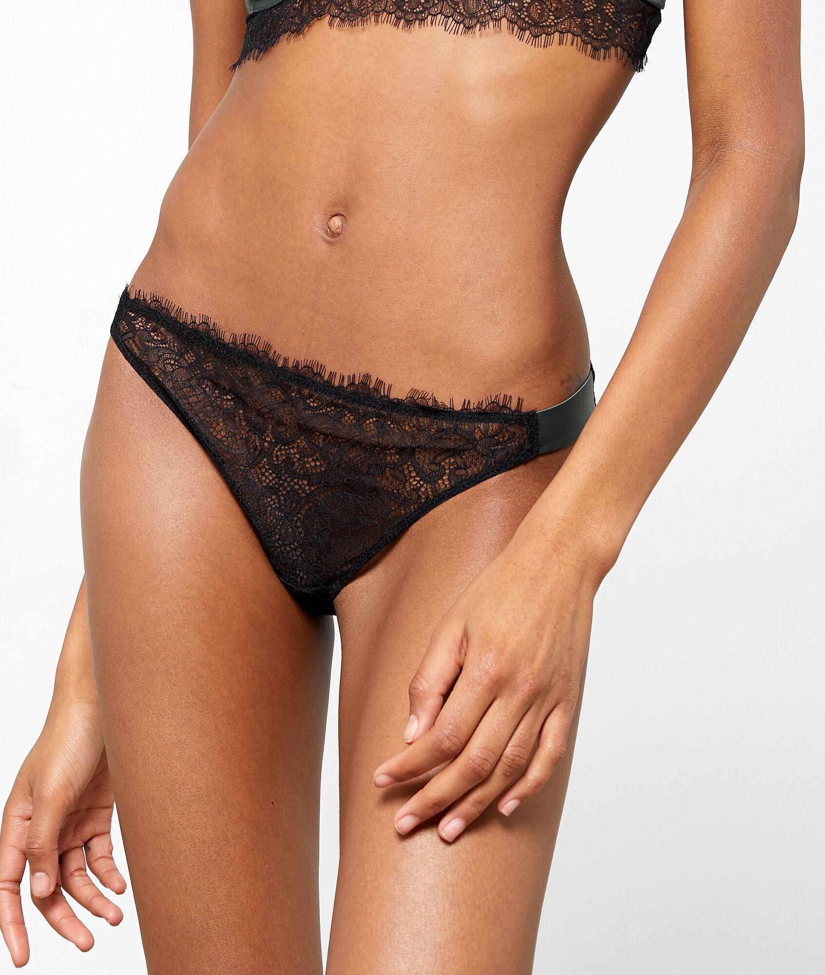 FEARLESS Majtki bikini z koronki, satynowe detale