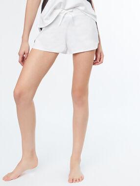 Satynowe szorty z koronkową wstawką w kontrastowym kolorze blanc.