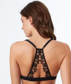 Biustonosz trójkątny z wykończeniem z koronki florystycznej, na plecach wycięcie w stylu bokserskim noir.