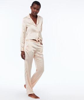 Krótka wiązana męska koszula od piżamy rose poudre.