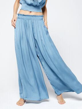 Satynowe spodnie extra large bleu ciel.