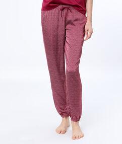 Spodnie satynowe w deseń bordeaux.