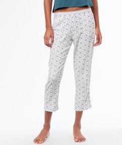 Wzorzyste spodnie 3/4 ecru.