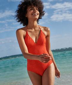 Jednoczęściowy kostium kąpielowy w jednolitym kolorze rouge.
