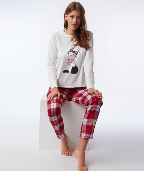 Piżama trzyczęściowa z motywem kotka