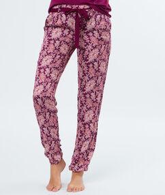 Wzorzyste spodnie bordeaux.