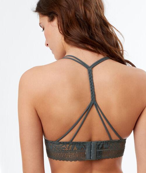 Koronkowy biustonosz trójkątny bez fiszbin, wycięcie na plecach w stylu bokserskim