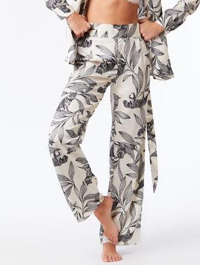 Spodnie z szerokimi nogawkami w roślinny deseń  ecru.