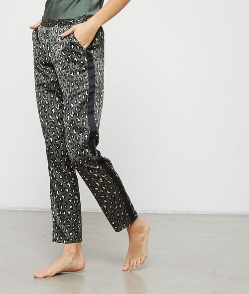 Satynowe spodnie w lamparcie cętki