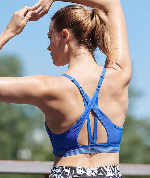 Biustonosz sportowy z ramiączkami skrzyżowanymi na plecach- średnie podtrzymanie