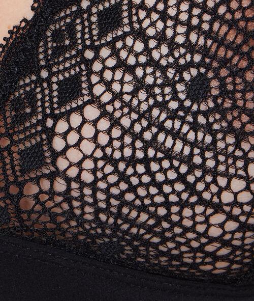 Trójkątny biustonosz koronkowy bez fiszbin z oryginalnym wykończeniem na plecach