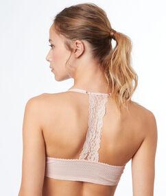 Biustonosz  - klasyczny biustonosz usztywniany z wycięciem na plecach w stylu bokserskim rose poudre.