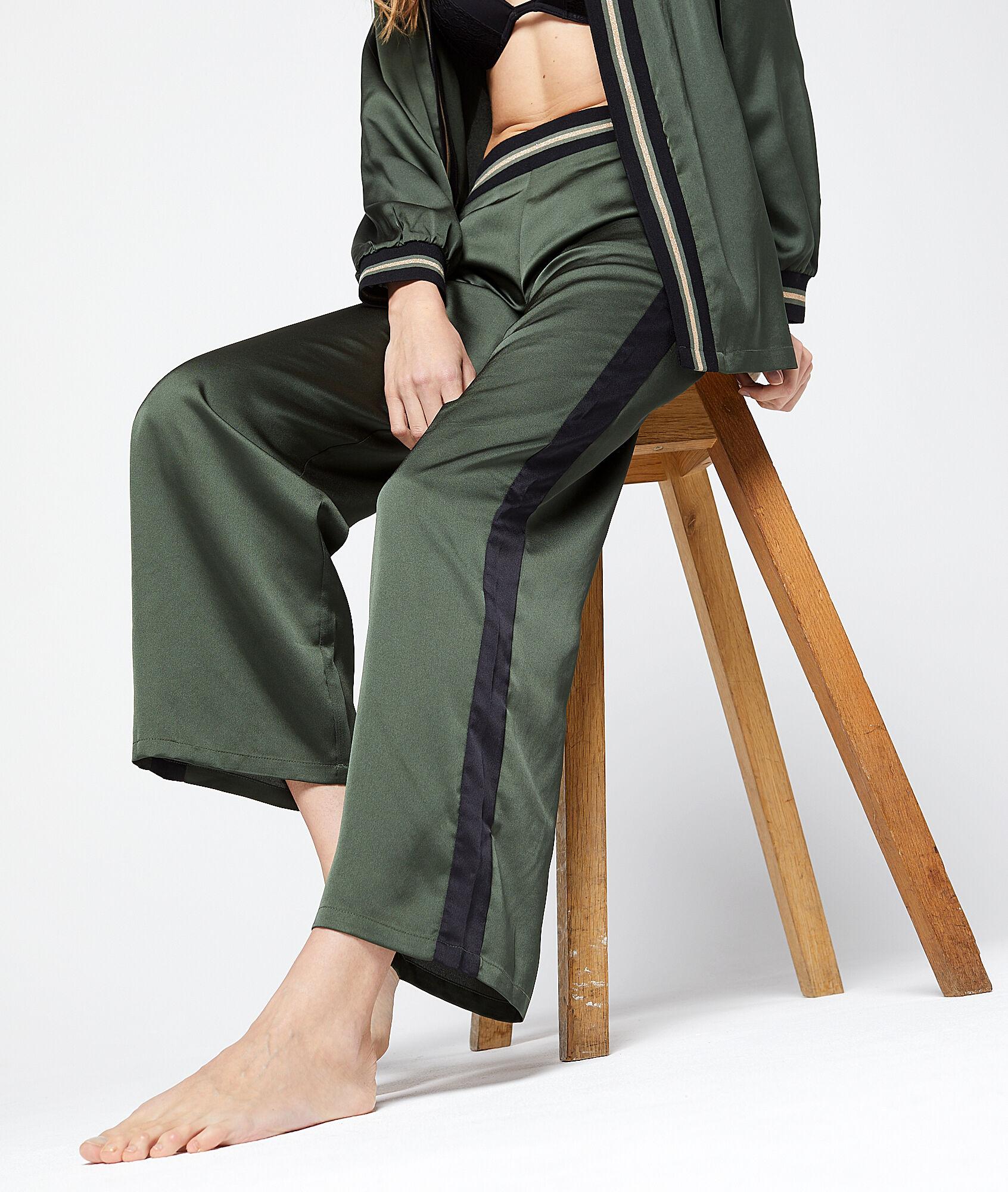 SEYLAN Satynowe spodnie z lampasami w kontrastowym kolorze