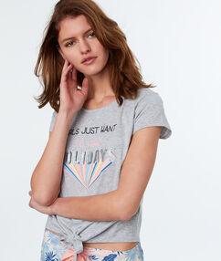 T-shirt z nadrukiem i napisem gris.