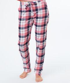 Pantalon à carreaux rose.