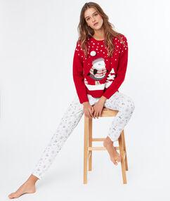 Sweterek z motywem świątecznym ecru.