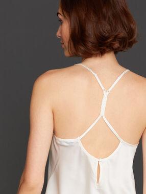 Top ze skrzyżowanymi ramiączkami na plecach ecru.
