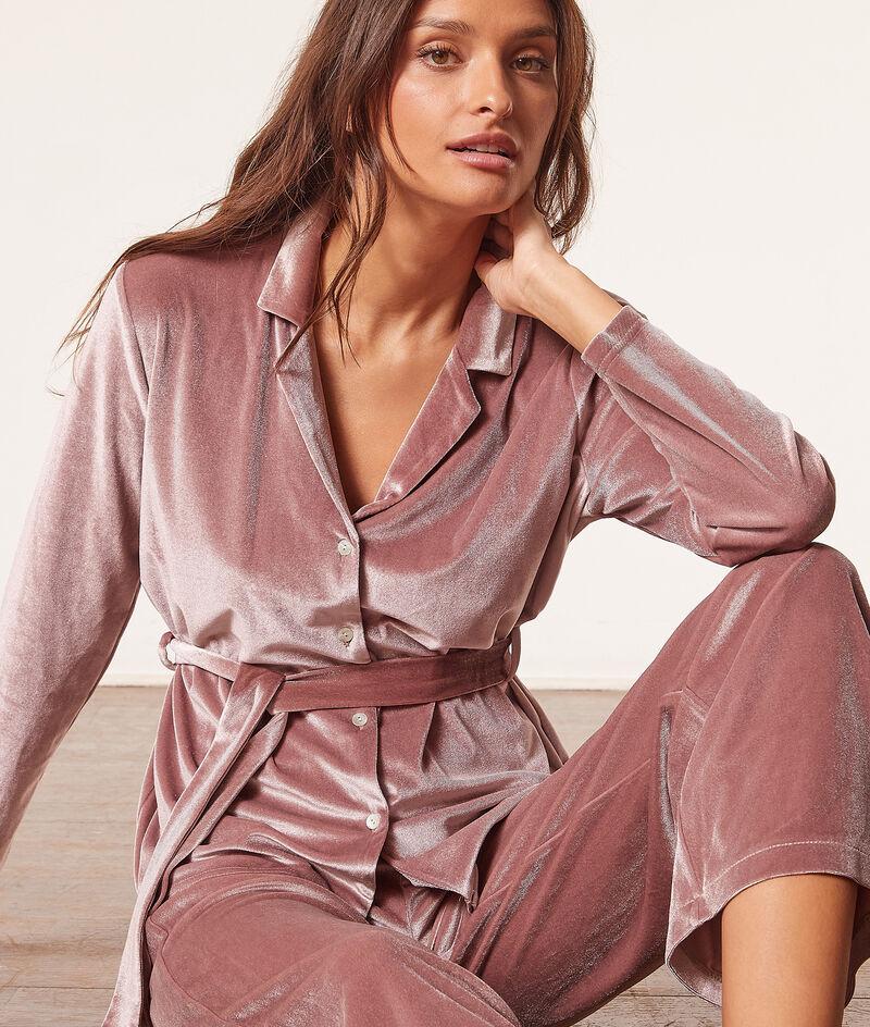 Wiązana koszula od piżamy z weluru;${refinementColor}