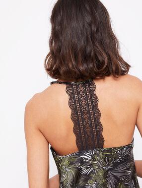 Satynowy top z koronką na plecach noir.