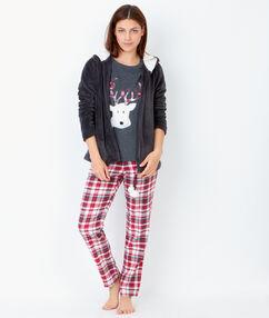 Piżama trzyczęściowa, spodnie w kratkę i bluza polarowa w dotyku antracytowy.