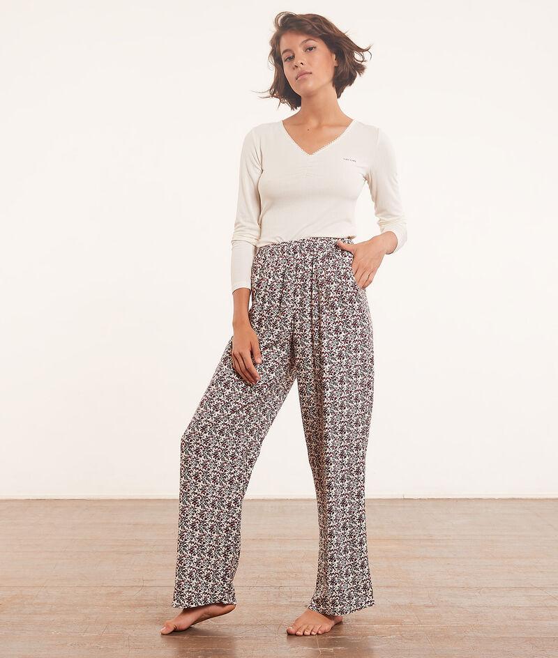 Pantalon de pyjama évasé imprimé;${refinementColor}
