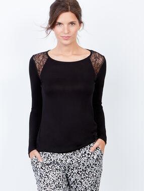 Klasyczna bluzka od piżamy z koronką czarny.