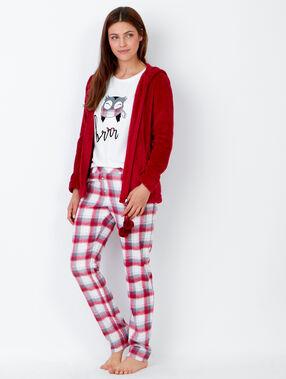 Piżama trzyczęściowa, spodnie w kratkę i bluza polarowa w dotyku czerwony.