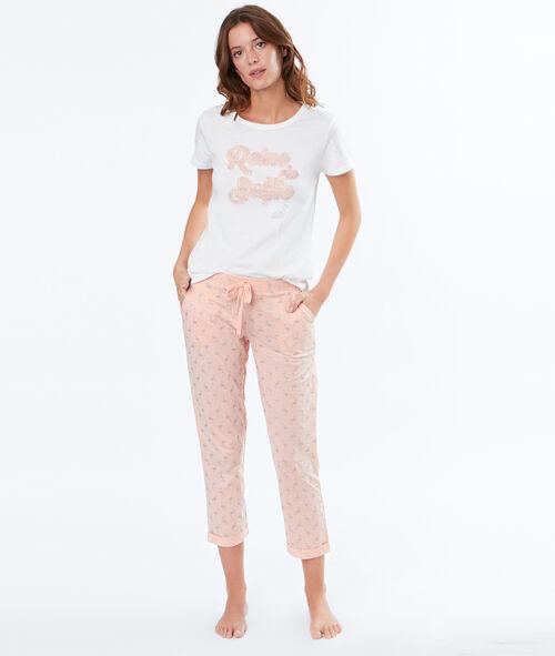 Spodnie 3/4 z motywem połyskujących różowych flamingów