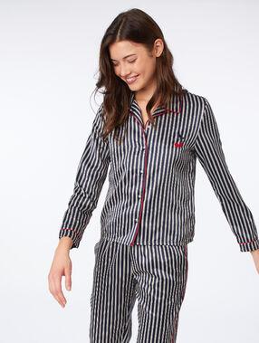 Satynowa koszula od piżamy w paski bleu nuit.