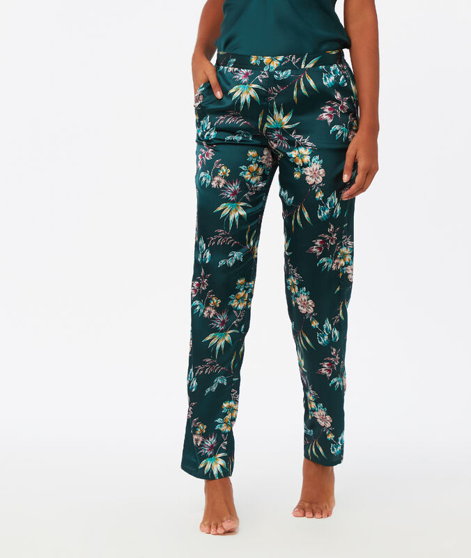 Wzorzyste satynowe spodnie bleu vert.