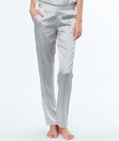 Satynowe spodnie w paski gris.