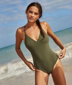 Jednoczęściowy kostium kąpielowy w jednolitym kolorze kaki.